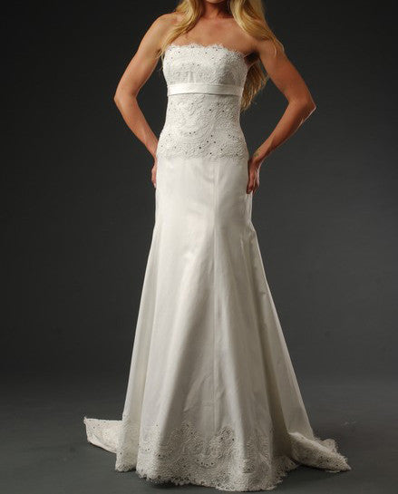 Boho Chic Strapless Satin and Lace A-line Gown