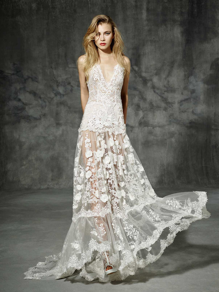 Inspired by Yolan Cris Couture Bridal – Aribau Replica ::  Use Code: BOHO200 For $200 off & Free US Shipping!