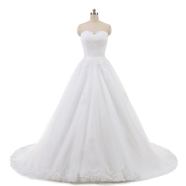 The Ada - Sleeveless Lace & Tulle A-line Wedding Dress