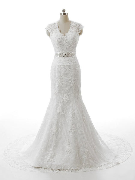 The Agatha - Vintage Lace Cap sleeve Mermaid Wedding Dress