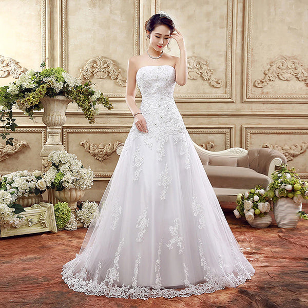 The Alexine - Vintage Strapless Corst Back Lace & Tulle A-Line Wedding Dress