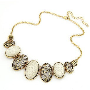 Vintage Antique Gold & Stone Bridal Necklace