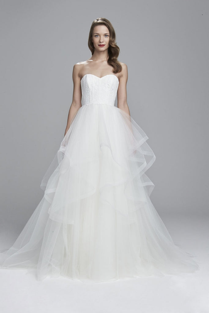 Inspired by the Amsale Auden :: Strapless ball gown with layered tulle skirt