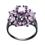 Vintage Style Black Gold Pink Daisy Ring :: Black Gold Collection