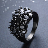 Vintage Style Black Gold Double Daisy Ring - Black :: Black Gold Collection