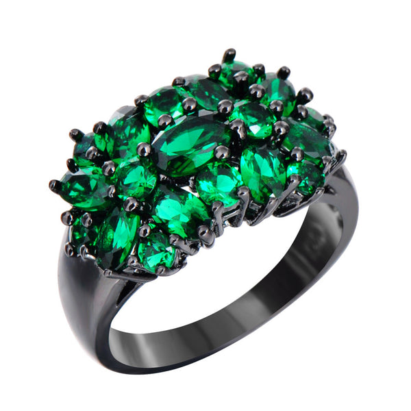 Vintage Style Black Gold Double Daisy Ring - Green :: Black Gold Collection