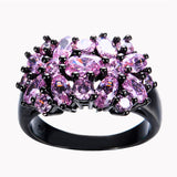 Vintage Style Black Gold Double Daisy Ring - Pink :: Black Gold Collection