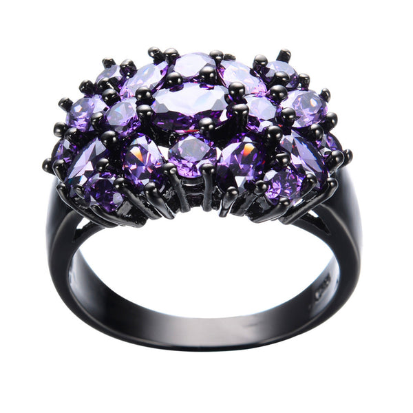 Vintage Style Black Gold Double Daisy Ring - Purple :: Black Gold Collection