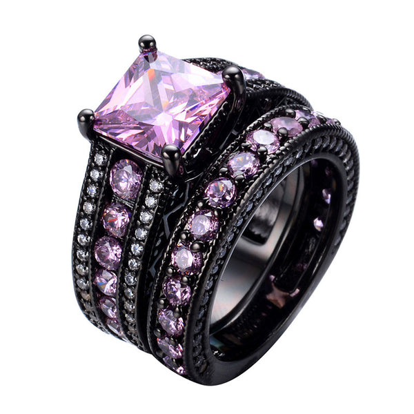 Vintage Emerald Cut Black Gold Pink Bridal Set :: Black Gold Collection