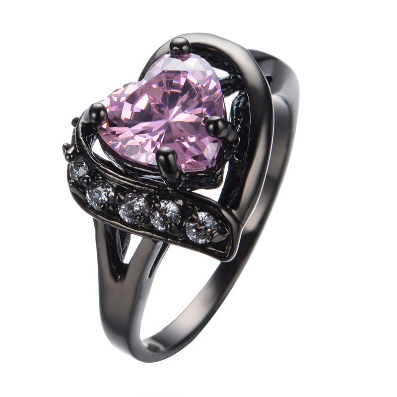 Vintage Style Black Gold Pink Sweetheart Ring :: Black Gold Collection