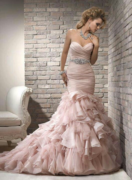 Blush Mermaid Gown With Hand Ruched Top & Court Length Ruffled Train