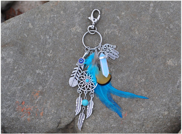 Boho Hamsa Dream Catcher Key Chain with Genuine Opal Stone