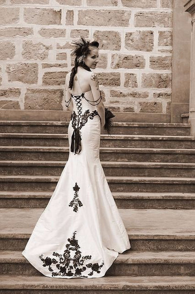 Elegant Vintage Black & White Mermaid  Gown