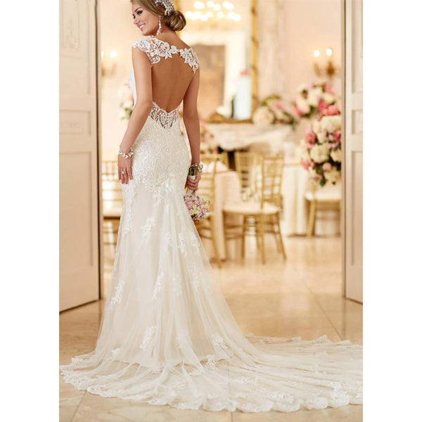 Lace Open Back Mermaid Gown w/ Chapel Length Train