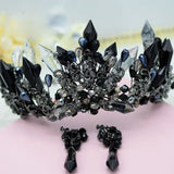Hand Crafted Antique Silver Plated Black Crystal Beaded Bridal Tiara with Matching Earrings