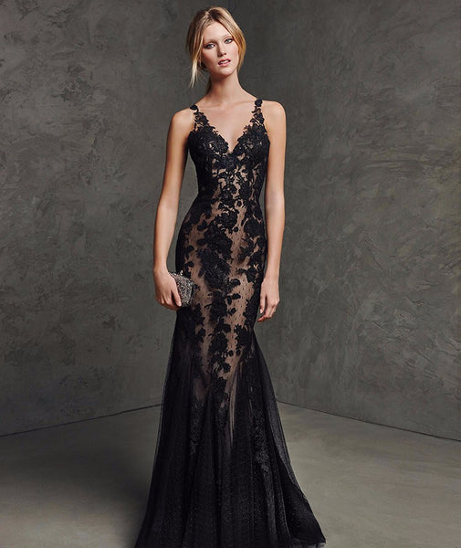 Black Lace Sexy See Through Illusion Wedding Dress