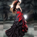 Black & Red Taffeta and Velvet Vintage Wedding Gown