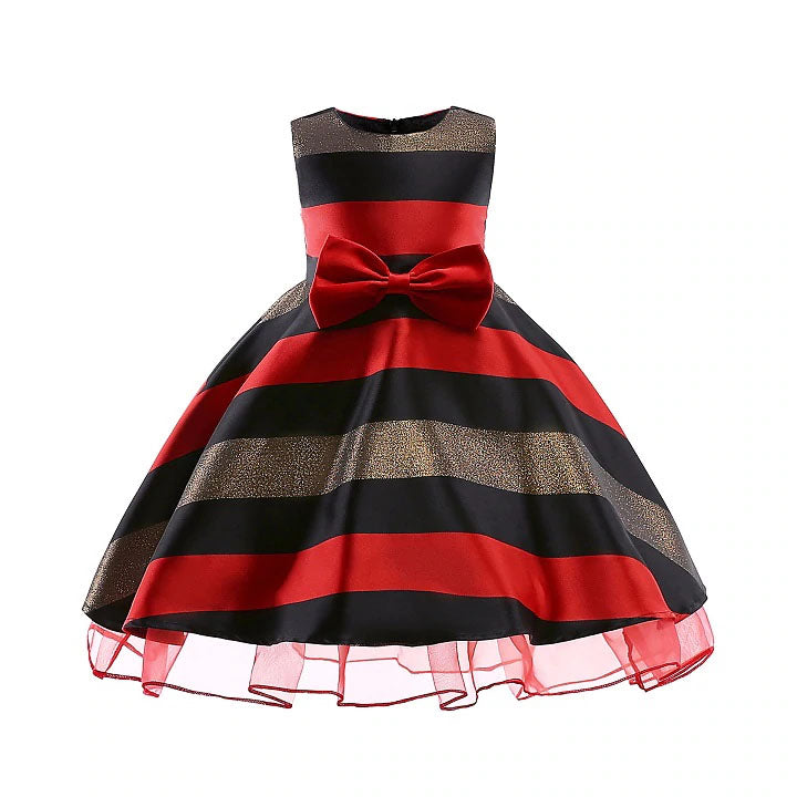 Satin & Stripes Christmas Winter Flower Girl Dress Sizes 2T – 10