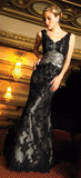 Black Lace Over Silver Satin Mermaid Wedding Dress