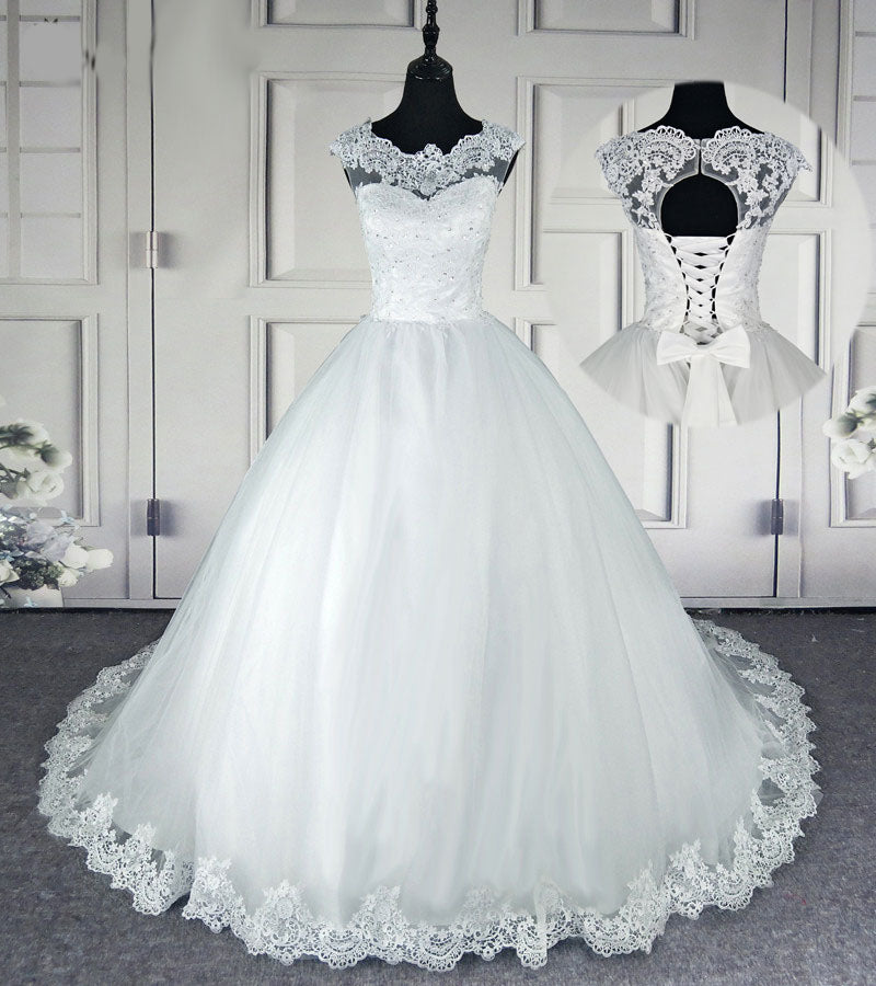 The Blanch :: Lace Bell Sleeve Corset Back Ball Gown Style Wedding Dress