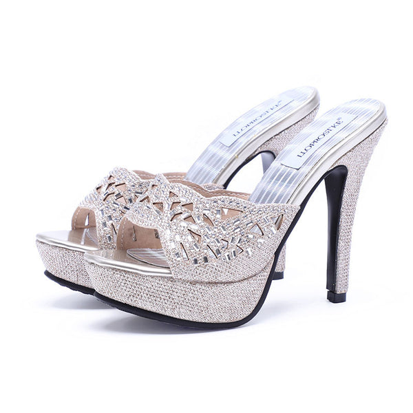Boho Bling Open Toe High Heel Bridal Sandals  :: Available in Silver and Gold  : Up to Size 12