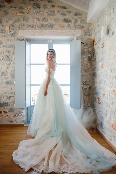 Something Blue! Ice Blue Tulle & Lace Wedding Dress