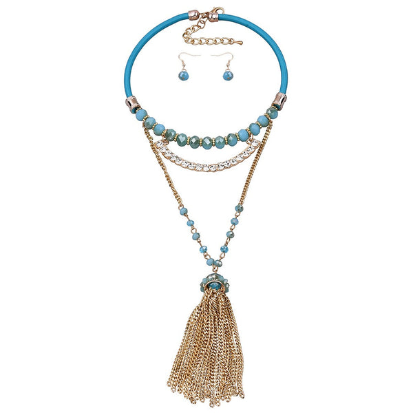 Bohemian Blue Leather & Stone Tassel Necklace