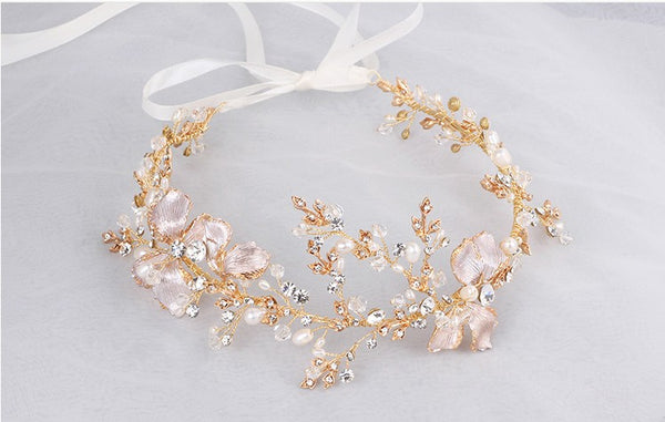 Crystal Blush or White Floral Crystals & Vines Head piece