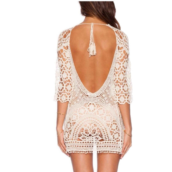 Bohemian Backless Crochet Cover Up