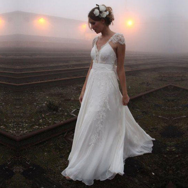 SAMPLE  - Boho Open Back Chiffon And Lace Wedding Dress