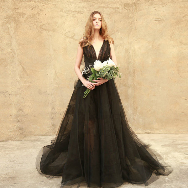 A Touch of Boho Black Chiffon Wedding Dress