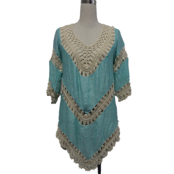 Bohemian Crochet Hollow Out Cover-up