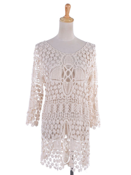 Bohemian Crochet Knit Mini Dress