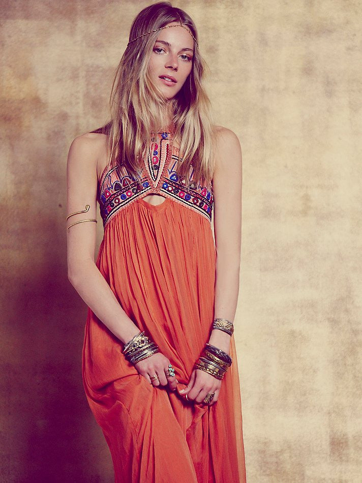 Bohemian Embroidered Halter Style Maxi Dress