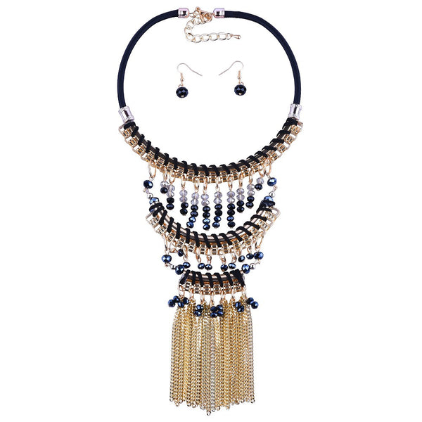 Bohemian Beaded Multi-Layer Ethnic Tassel Necklace  w/ Matching Earrings