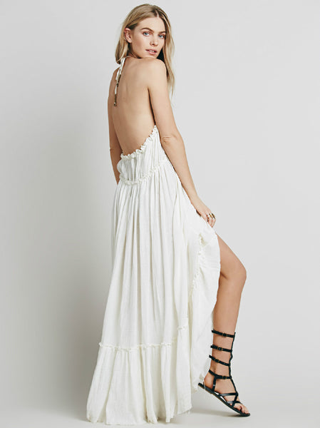 Bohemian Hobo Deep V-Neck Backless Maxi Dress