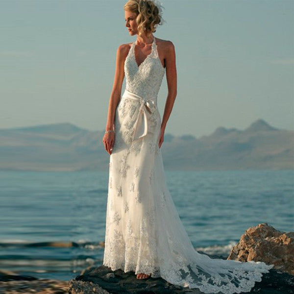 Boho Lace Tank Style Beach Wedding Dress Use Code: BOHO100 for $100 off and FREE US Shipping!