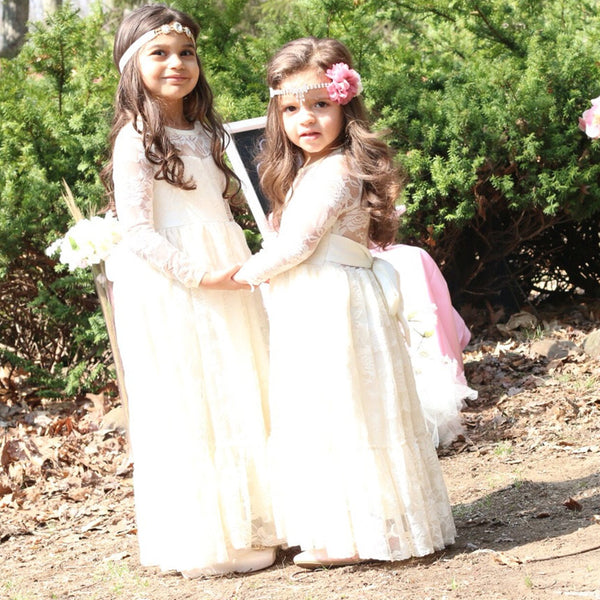 Boho Long Sleeve Lace  Flower Girl Dress
