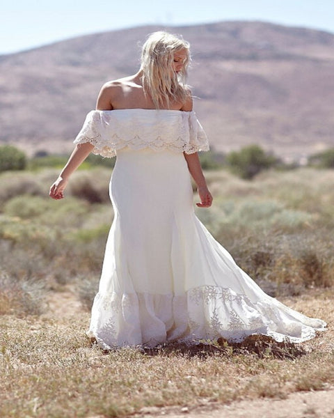 Plus Size Collection :: Boho Off Shoulder Lace & Chiffon Wedding Dress