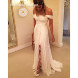 Boho Goddess Off Shoulder A-Line Beach Wedding Gown