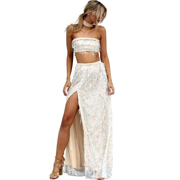 Boho Sequin Tank & Maxi Skirt Beach Set