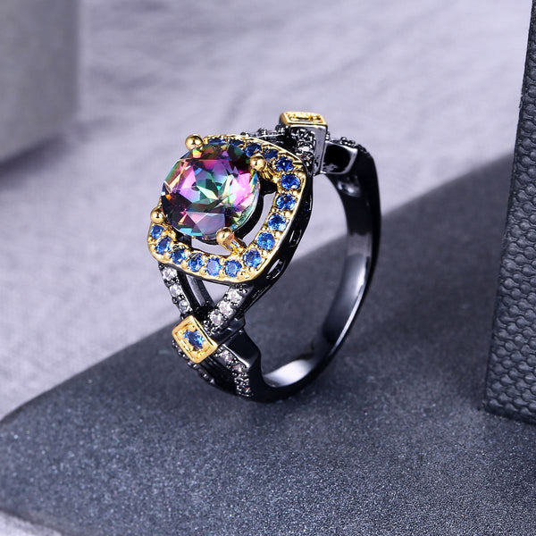 Boho Black Gold Geometric Rainbow Stone Engagement Ring