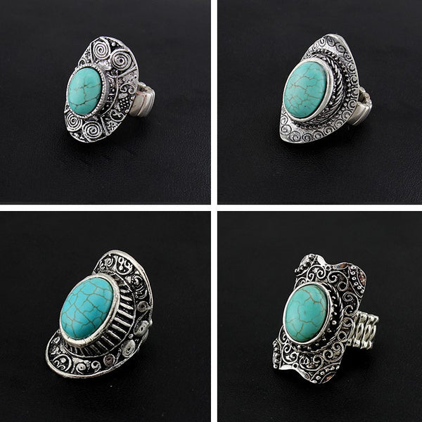 Bohemian Style Turquoise Silver Carved Ring – Set of 4