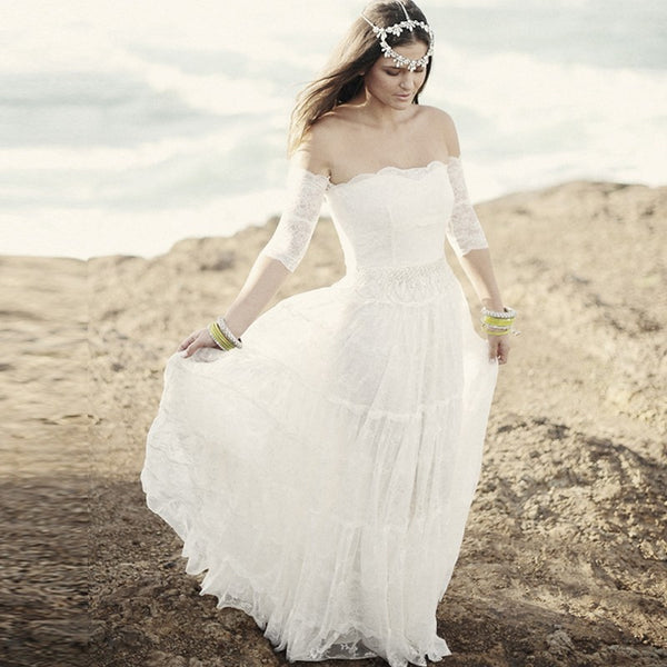 SAMPLE  - Boho Hippie Tiers Of Lace Wedding Gown