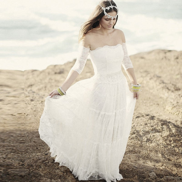 Boho Hippie Tiers of Lace Wedding Gown - Summer Clearance