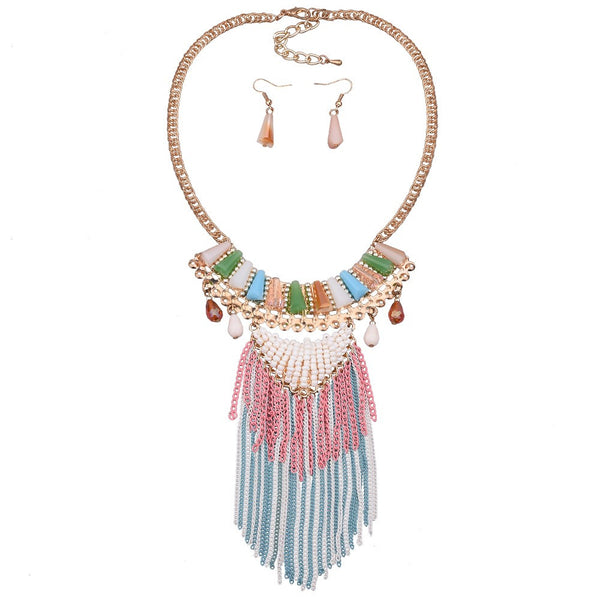 Bohemian Collar Tassel Necklace & Matching Earrings