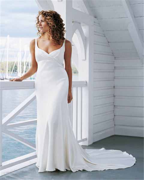 Timeless Boho Chic Open Backed Wedding Gown with Court Train – Avail up to size 28W :: On Sale! $100 Off & Free US Shipping!