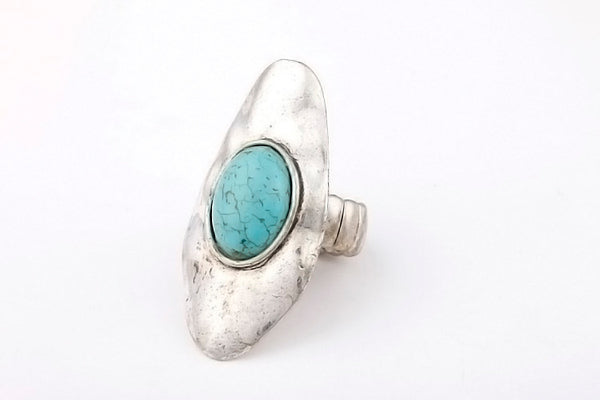Bohemian  Antique Silver Turquoise Ring