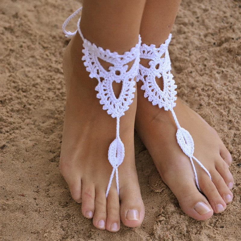 Boho Yoga Style Crochet Barefoot Sandals - Set of Two
