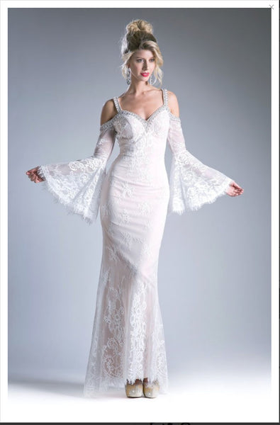 Bohemian Bell Sleeve Lace & Crystals Wedding Dress - On Sale! Save $200 w/Free US Shipping!